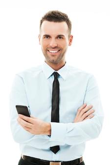 Biznesmen za pomocą smartfona