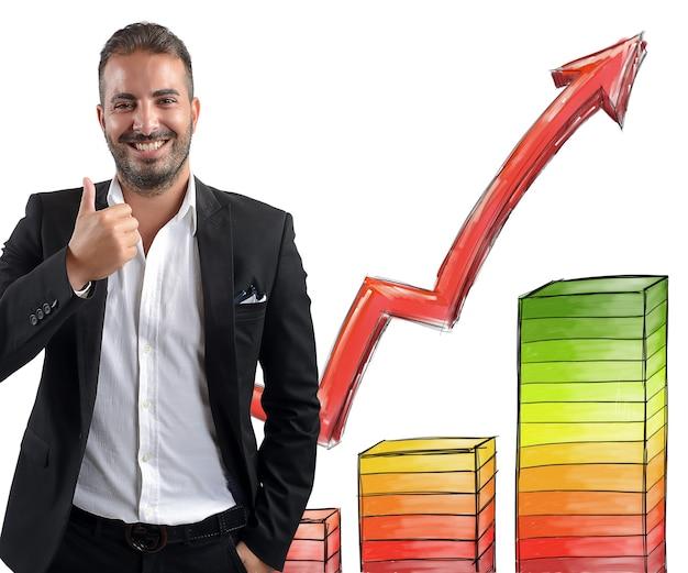 Biznesmen zadowolony z zysków
