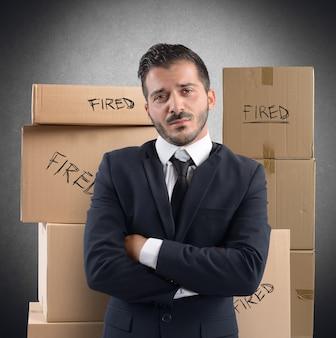 Biznesmen zwolniony z pracy