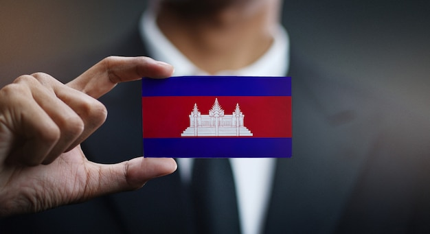 Biznesmena mienia karta kambodża flaga