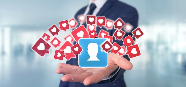 Biznesmena mienie jak powiadomienie na kontakcie na ogólnospołecznym medialnym renderingu 3d