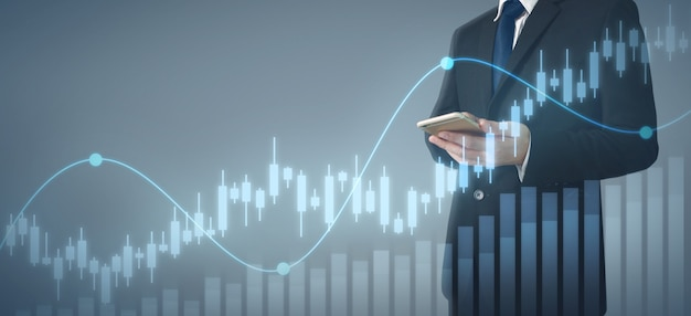 Biznesmena planu wykresu wzrost i wzrost biznesu mapy.