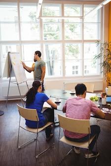 Biznesmeni rozmowy z kolegami na whiteboa