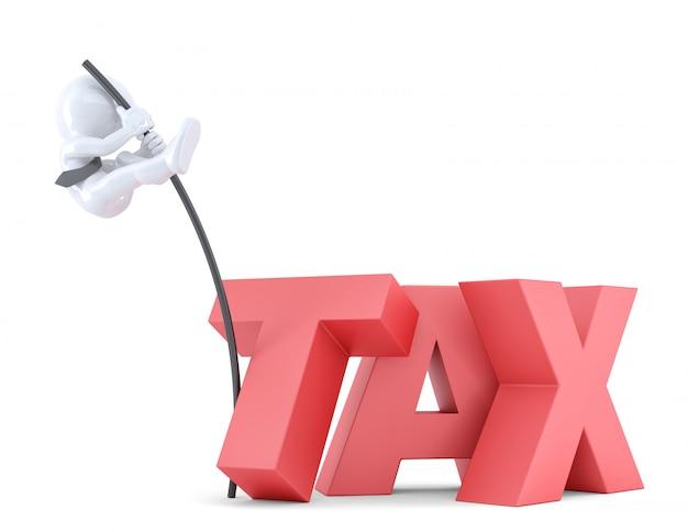"""Biznesmeni skaczący nad znakiem """"podatek"""" za pomocą wysokiego bieguna. odosobniony. zawiera ścieżkę przycinającą"""
