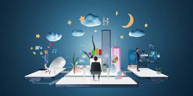 Biznesmeni znaków przy użyciu komputera w wirtualnym biurze z inteligentną platformą danych. koncepcja marketingu biznesowego. renderowania 3d.