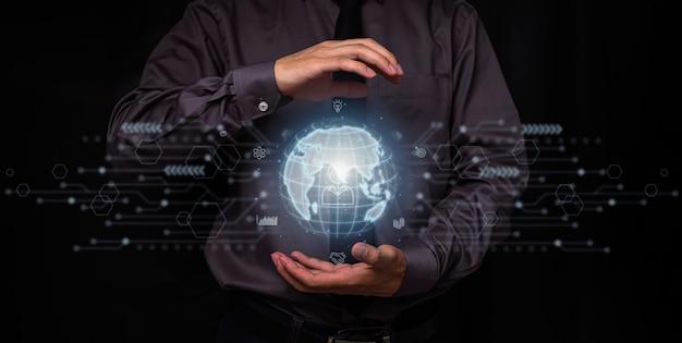 Biznesowa globalna technologia aplikacji do połączeń internetowych i marketing cyfrowy, finanse i bankowość