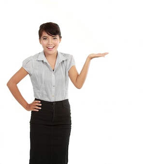 Biznesowa kobieta przedstawia