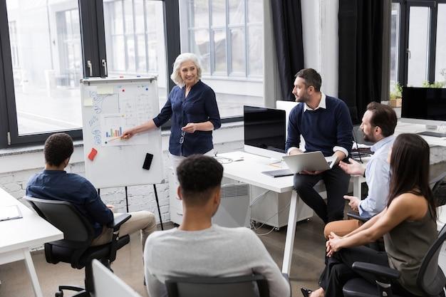 Biznesowa kobieta robi prezentaci przy biurem
