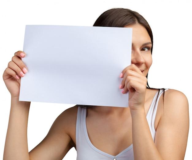 Biznesowa kobieta trzyma sztandar