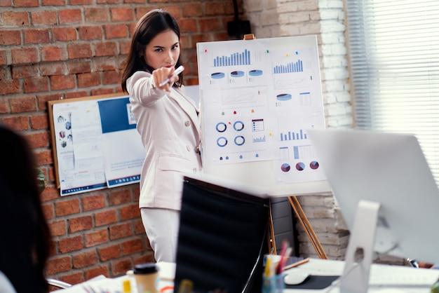 Biznesowa kobieta wskazuje jego palec przy tobą