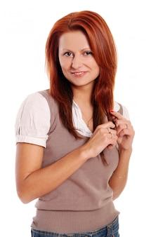 Biznesowa kobieta z czerwonymi włosami