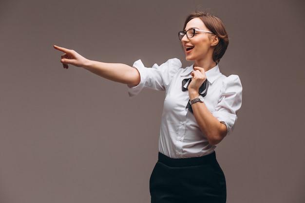 Biznesowa kobieta z emocjami odizolowywać