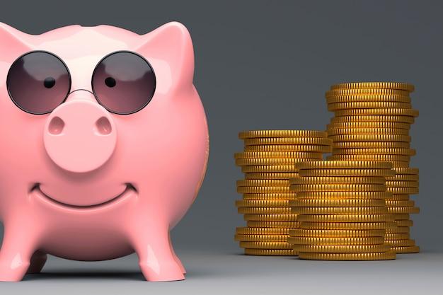 Biznesowa metafora - różowy prosiątko bank w wziernych słońc szkieł 3d ilustraci