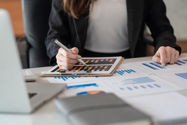 Biznesowe kobiety oglądają i analizują wykresy raportów finansowych w biurze.