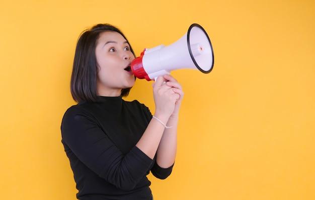 Biznesowe kobiety trzyma megafon akcję dla strony internetowej i promoci sztandarów.