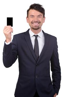 Biznesowego mężczyzna przedstawienia karta i uśmiech