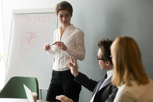 Biznesowi koledzy dyskutuje projekt podczas prezentaci w sala konferencyjnej