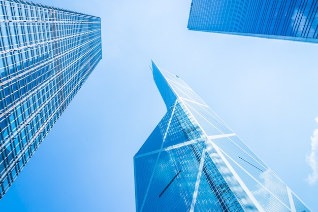 Biznesowy drapacza chmur budynek w hong kong mieście
