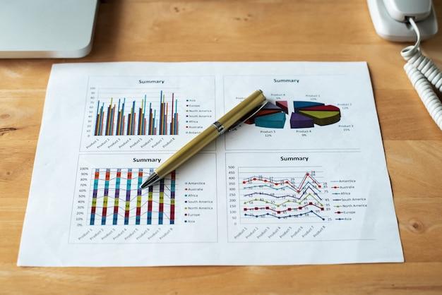 Biznesowy papierowy wykres i pióro stawiający na biurowym biurku, przygotowywa dla pracy
