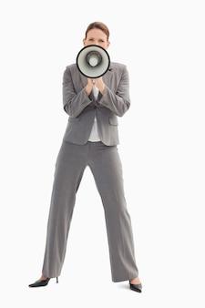 Bizneswoman gospodarstwa megafon