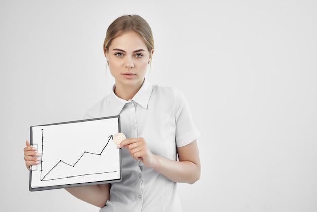 Bizneswoman handel internet finanse inwestycje jasne tło
