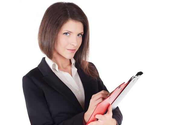 Bizneswoman pracuje ze schowkiem