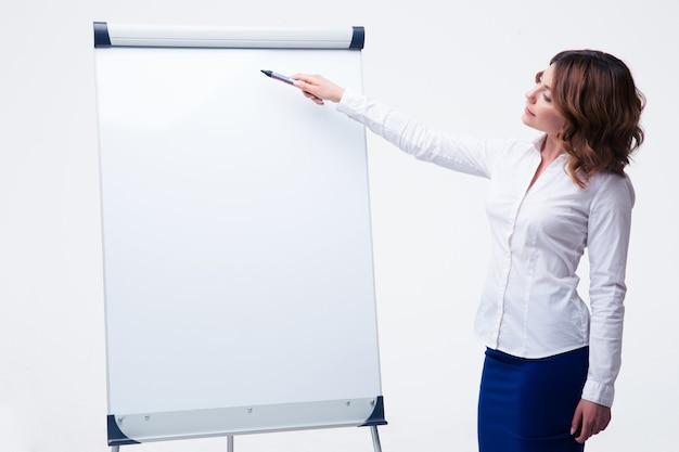 Bizneswoman przedstawia strategię na flipcharcie