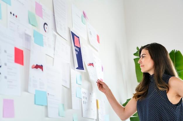 Bizneswoman przedstawiający strategię marketingową na białej ścianie