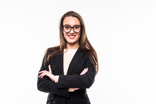 Bizneswoman w klasycznym czarnym apartamencie na białym tle