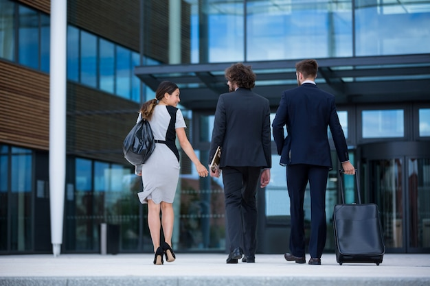 Bizneswoman z kolegami chodzić