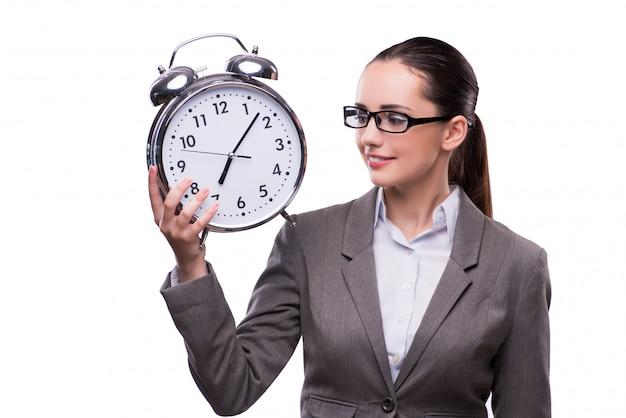 Bizneswoman z zegarem w biznesowym pojęciu