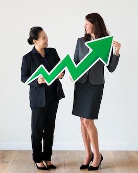 Bizneswomany gospodarstwa ikona statystyki zysku