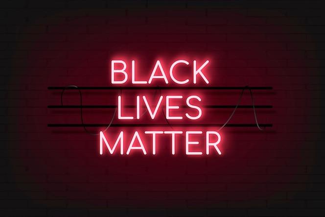Black lives matter czerwony neon blask tła glow