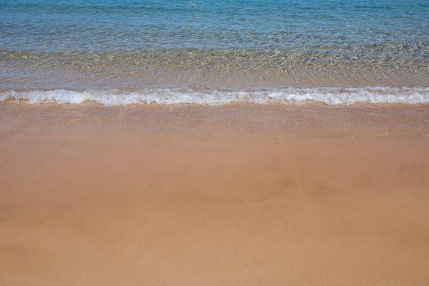 Błękitna fala oceanu na piaszczystej plaży o zachodzie słońca lato czas plaża krajobraz tropikalny pejzaż morski spokój...