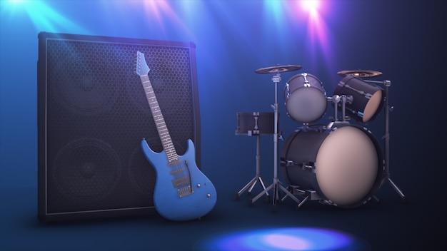 Błękitna gitara elektryczna z wielkim combo i bęben ustawia 3d ilustrację