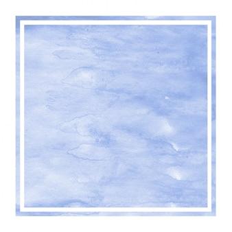 Błękitna ręka rysująca akwareli prostokątna ramowa tło tekstura z plamami