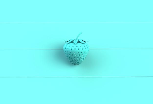 Błękitna truskawka na błękitnej drewnianej desce