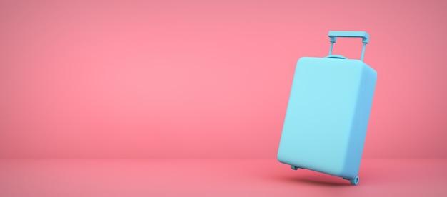 Błękitna walizka na różowym pokoju, 3d rendering