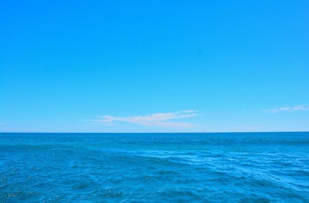Błękitne, czyste niebo z chmurami na horyzoncie i spokojnym oceanem