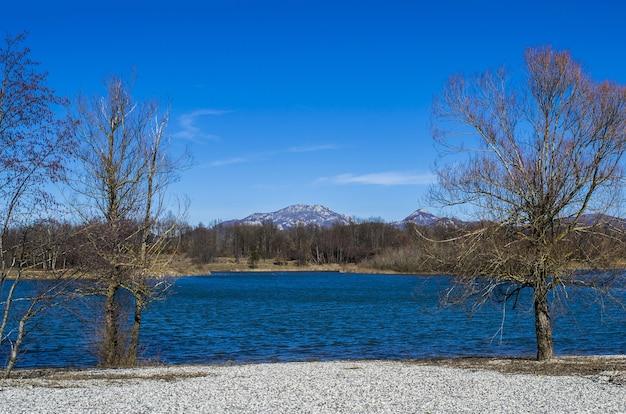 Błękitne jezioro z lasami i górami w ciągu dnia