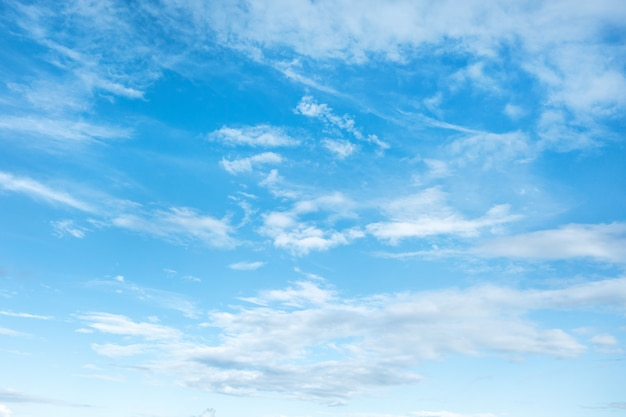 Błękitne niebo z białymi chmurami, letnie niebo