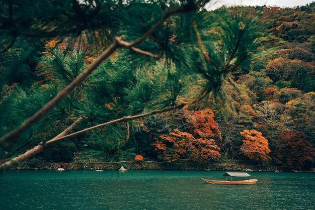 Błękitne wody jesień przy japonia