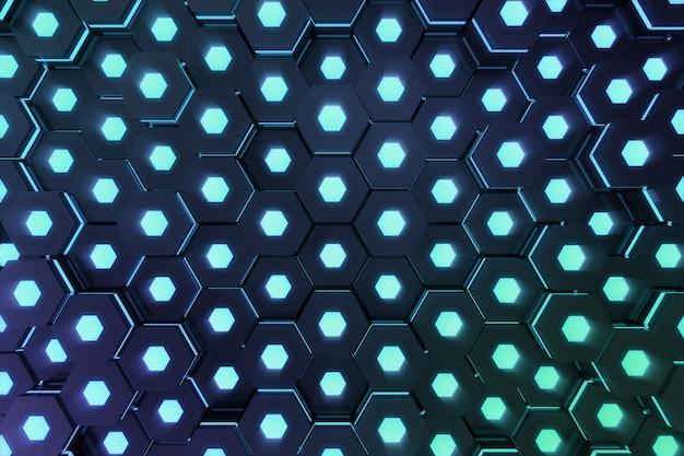 Błękitny abstrakcjonistyczny heksagonalny rozjarzony tło, futurystyczny pojęcie. renderowanie 3d