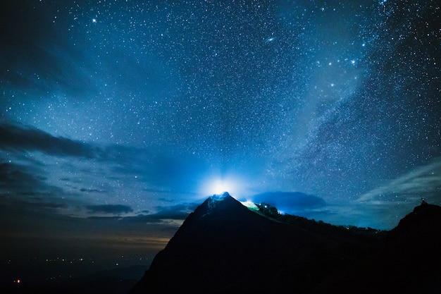 Błękitny ciemny nocne niebo zz gwiazdowym milky sposobu przestrzeni tłem