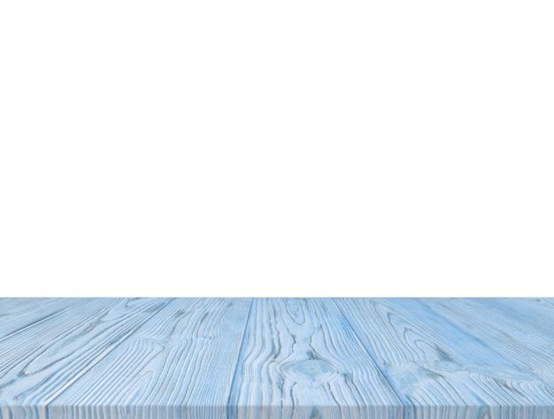 Błękitny drewniany textured stołowy wierzchołek odizolowywający na białym tle