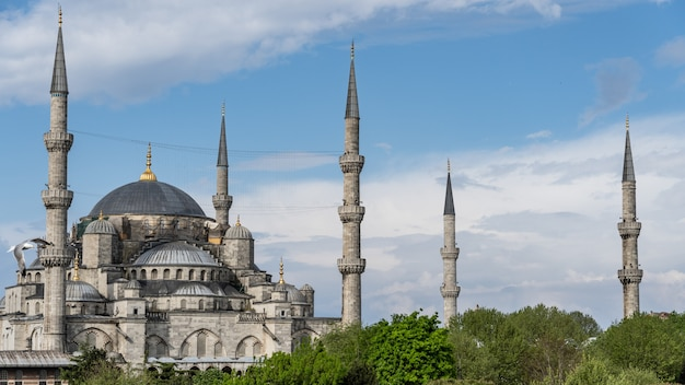 Błękitny meczet sułtan ahmed meczet sultanahmet, stambuł turcja.