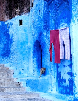 Błękitny medina chefchaouen miasto w maroko, afryka północna