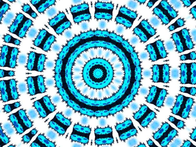 Błękitny neonowy wzór. aztec wzór. ładny niekończący się ornament. nowoczesne wzornictwo ludowe. projekt starodawny boho. geometryczny styl ludowy. indygo, czarny, biały, błękitny, neonowy rysunek sztuki afrykańskiej