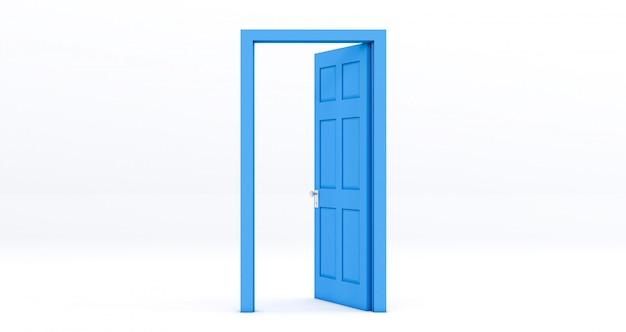 Błękitny otwarte drzwi odizolowywający na bielu