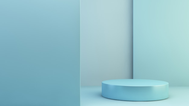 Błękitny produkt prezentaci sceny 3d rendering